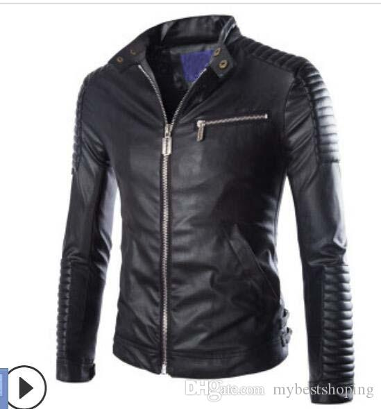 2016 New Brand Motorcycle Leather Jackets Men Stylish Jaqueta Couro Masculine Stand Collar Fashion Design White Black Navy Blue