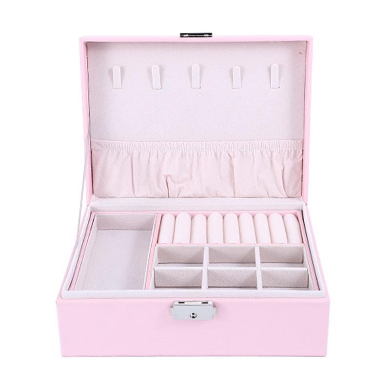 Viagens de jóias Box Portátil Início 2 camadas visualizar a bandeja de armazenamento Organizer Trava de Segurança PU Couro Durable Colar Anel Exquisite