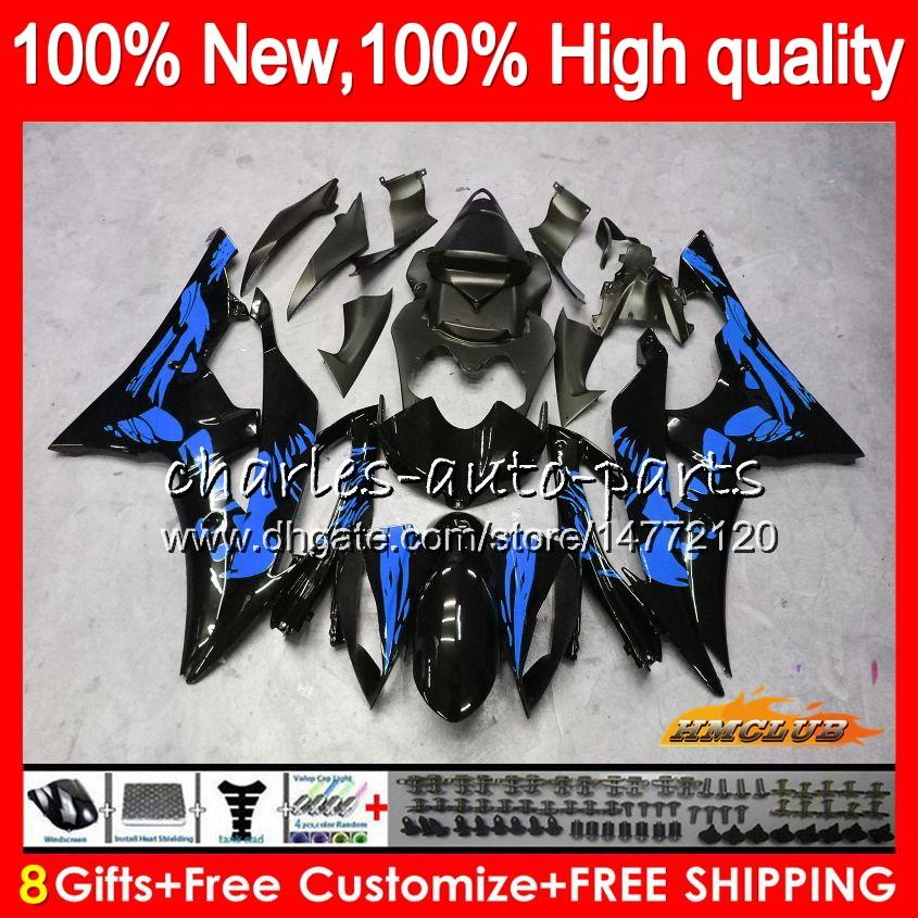 Corpo da Yamaha YZF600 YZF R6 YZFR6 2008 2016 68HC.177 YZF 600 R6 CC 600CC YZF600 Grafite azul YZFR6 08 09 10 11 12 13 14 15 16 carenagens