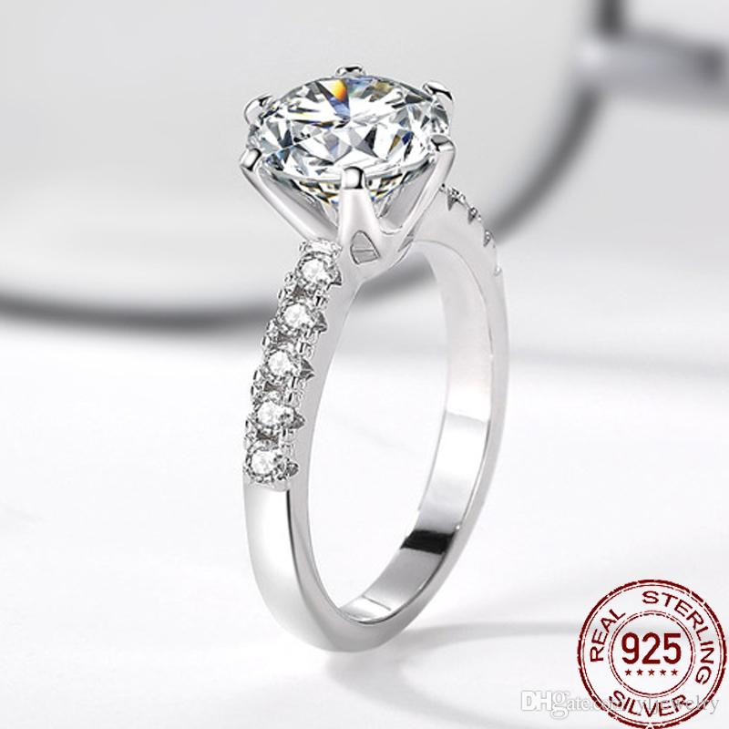 Luxury 925 Solid Silver Engagement Wedding Ring Classic Six claws 2CT 8MM CZ Diamond Rings For Women Fine Jewelry XR427