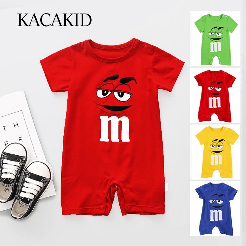 Kacakid Sommer neugeborenes Baby-Spielanzug Kurzschluss-Hülsen-Overall-Karikatur druckte Baby-Strampler Overalls Kleidung 4 Farben Y6