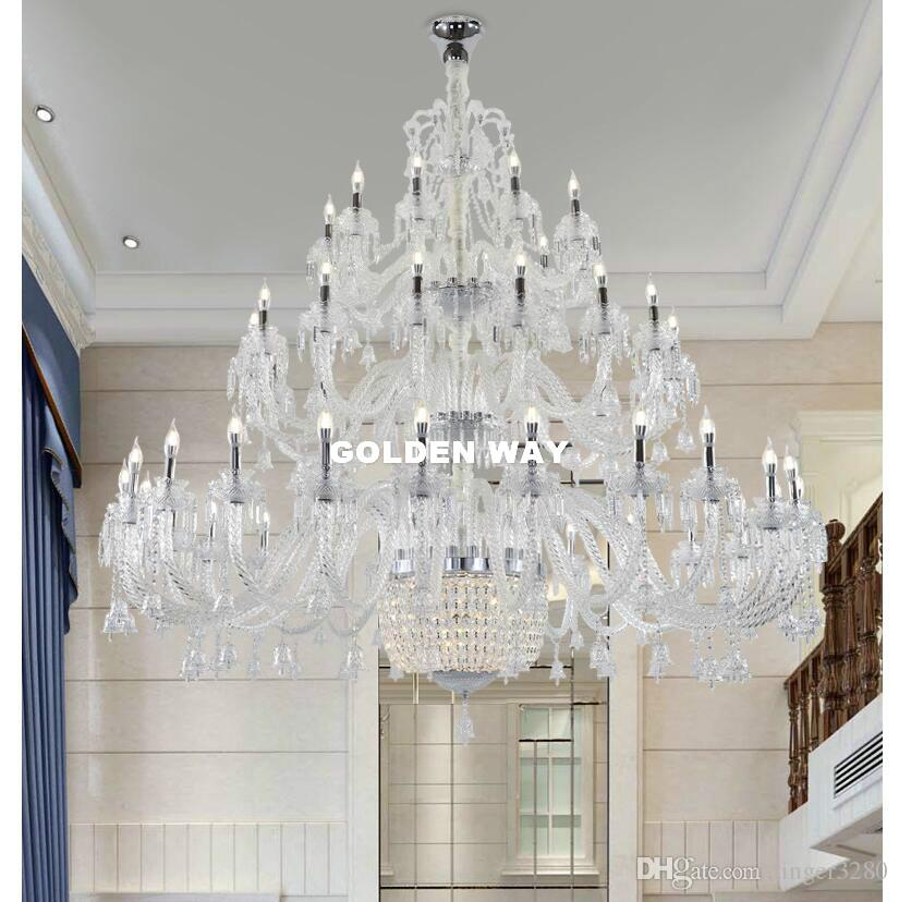 Frete grátis Modern candelabro de cristal claros candelabro Lustres de cristal decorativas 50arms D190cm Quarto LED luzes do candelabro