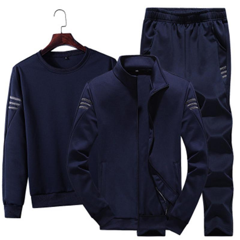 2019 Mens Casual Solid Color 3 Stück Tracksuits Sports Fitness-Qualitäts-Outfits Herbst Weiche Tracksuits sehr kostengünstig