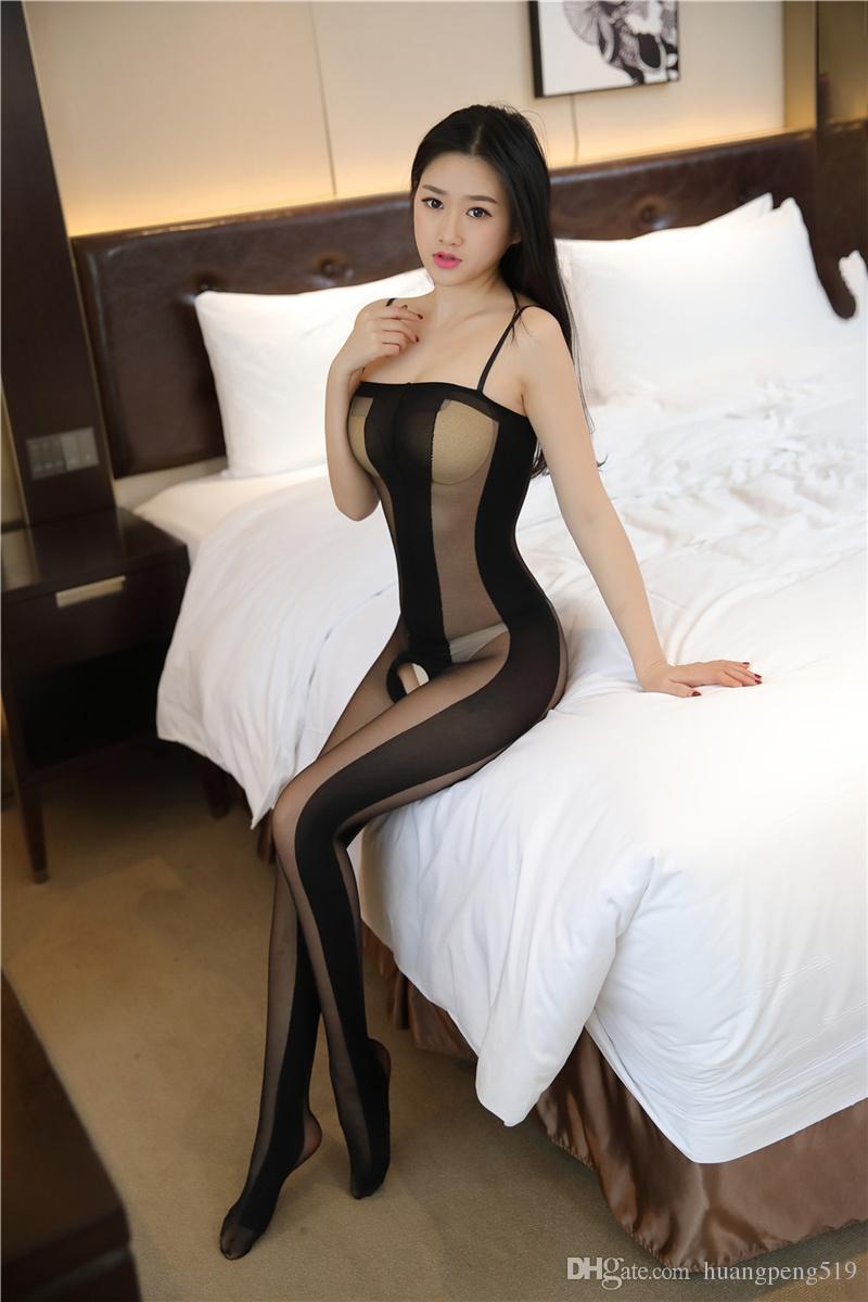 2019 Kadın seksi ipek çorap içi boş üniforma günaha uzun kollu çorap 6013 tayt çapraz