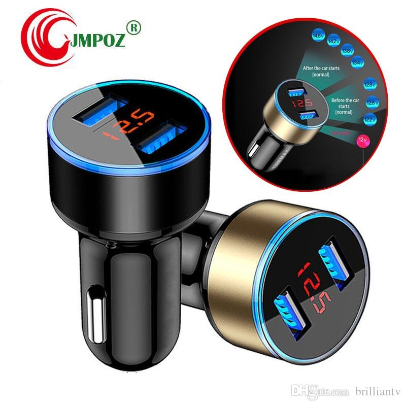 Universal 5V 3.1A Dual USB Car Charger Adapter Voltage+Current+Fahrenheit Temperature LED Display Car Charger for Phones GPS