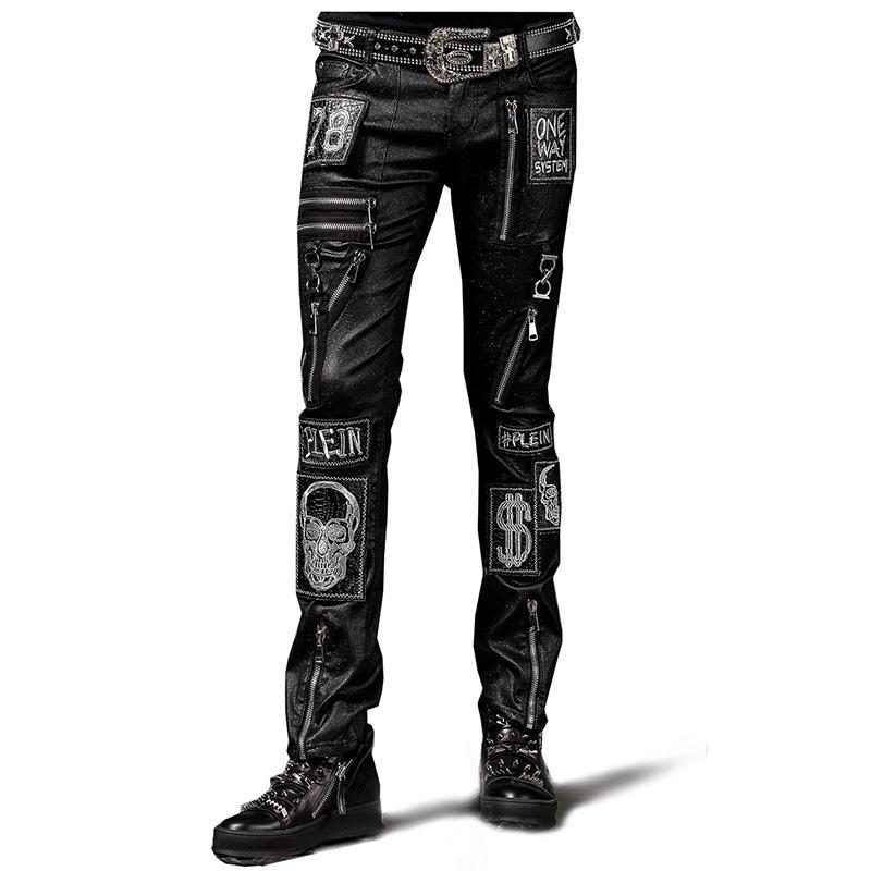 2019 ropa de los hombres de la moda hip hop GD estilista de la corriente principal del punk no brillante elástica Patch pantalones casuales, más trajes de tamaño