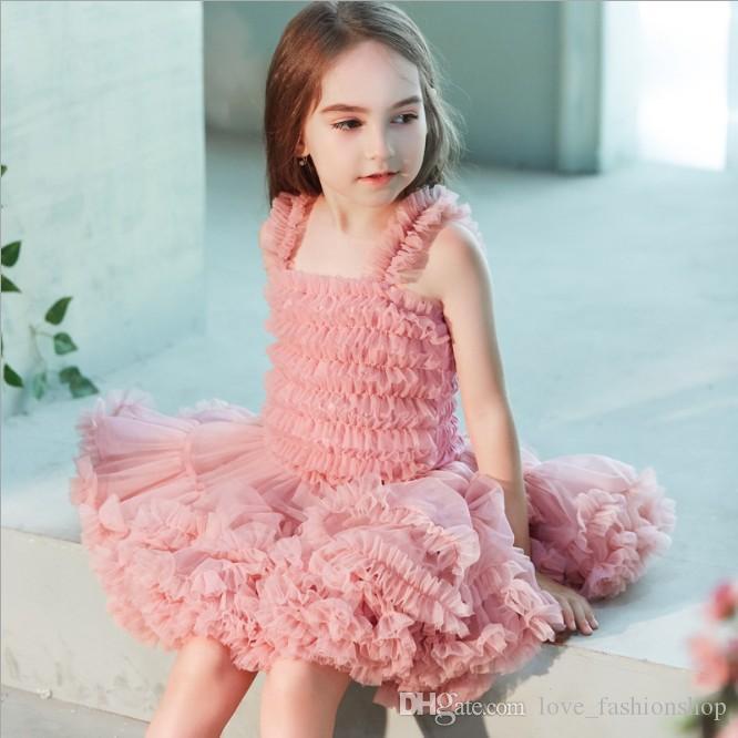 Retail kids designer girls dresses Ruffle Vest Princess Dress easter Sleeveless suspender Ball Gown Party Prom Dress kids boutique clothes
