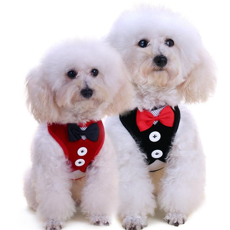 New Designer Pet Dog Accessories Summer Dog Clothes Vest Bow Evening Dress Dog Harness And Traction Rope Set Pet Supplies Wholesale