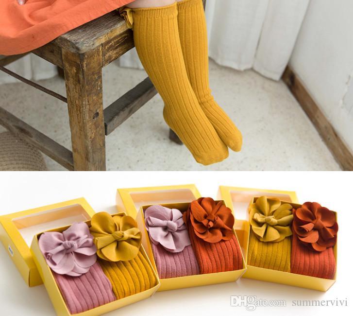 2019 printemps enfants chaussettes filles stéréo fleur princesse chaussettes enfants verticale tricoté genou chaussettes hautes enfants coton respirant coller F7463