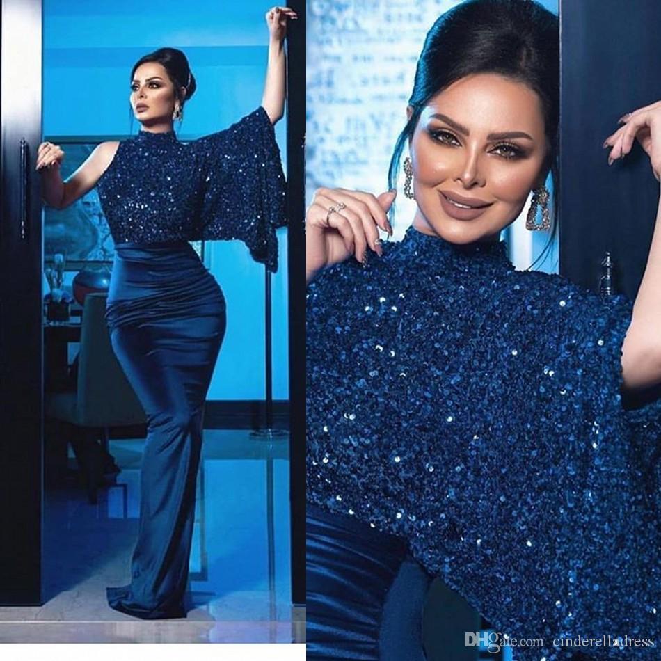 2020 Sexy bleu marine Robe de soirée avec Cape Paillettes Top à manches longues sirène Robes de bal Custom Made robe de célébrité