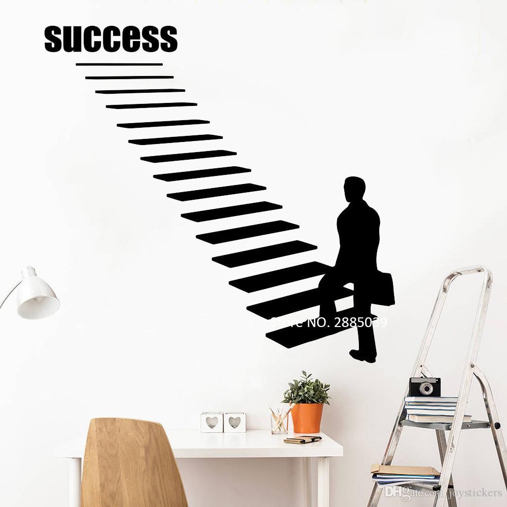 Gehen Sie zum Erfolg Karriereleiter Vinyl Wandtattoo Erfolg Aufkleber Stairway Start Wall Art Büro-Raum-Innendekor Murals