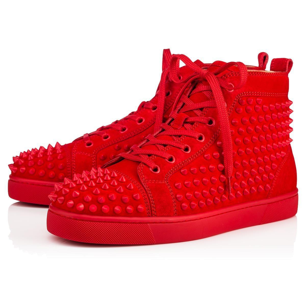 Büyük Beden Eur36-47 Tasarımcı Ayakkabı Yüksek Cut Kırmızı Alt Spike Sedue buzağı Sneaker Parti Düğün Ayakkabı Gerçek Deri Casual Ayakkabı