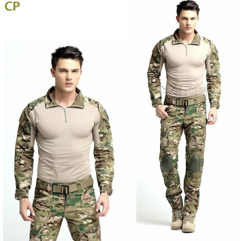 Tactical Army Hunting Clothes Multicam Combat Uniform Gen 3 shirt + pants Suit w/ knee pads Camouflage Clothing