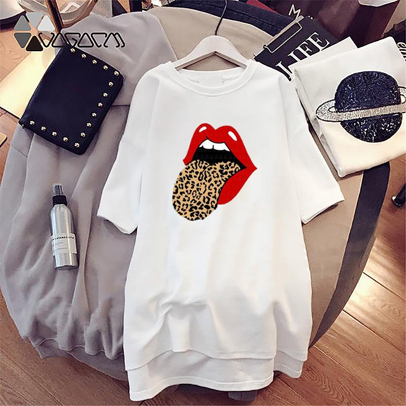 Mulheres vestido de verão Moda Imprimir T-shirt de alta qualidade Vestido 2020 New Verão vestido casual com estilo Sexy Lip Imprimir Tamanho
