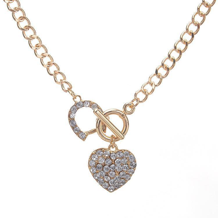 Donna Collegamento Catena Bling Strass Toggle Chiusura Cuore Cuore Romantico Love Pendant Collana corta per le donne regalo Iced out gioielli pendente