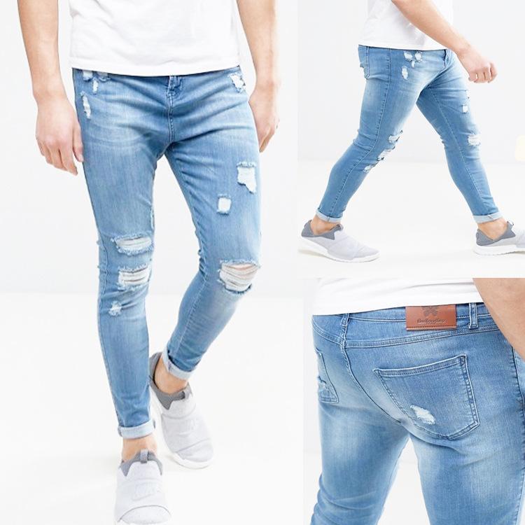 Fashion-Mens Designer Jeans Denim Blue Biker Ripped Skinny Jean Pants Male Hombres Trousers