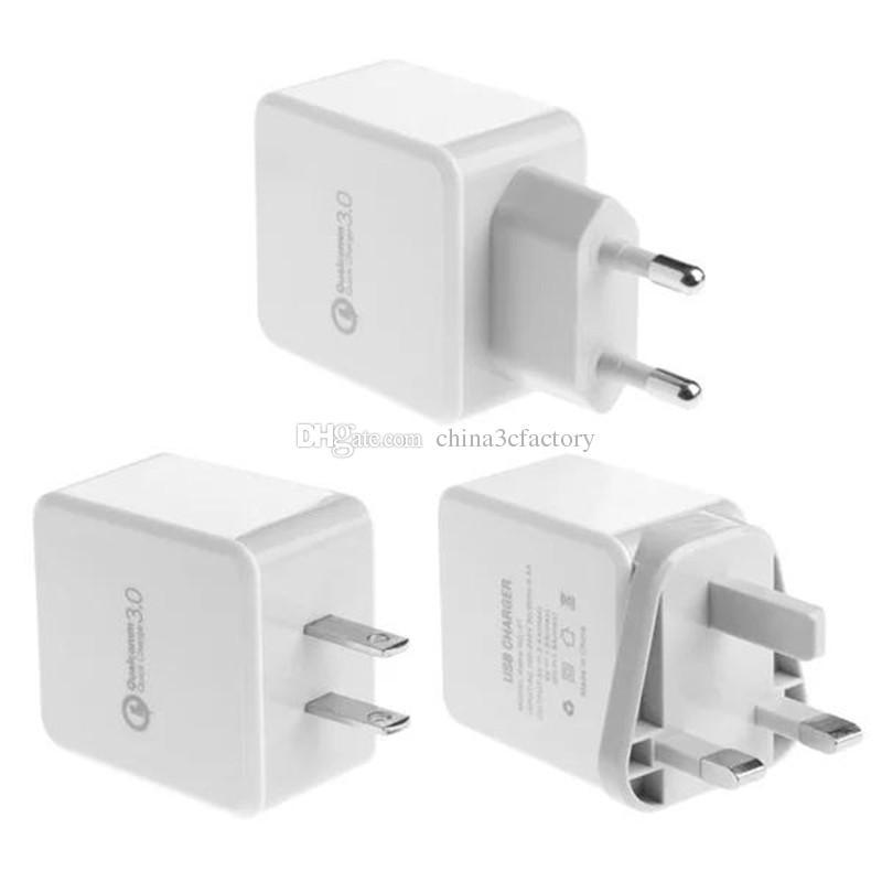 Qc3.0 быстрое быстрое зарядное устройство авто адаптер питания ес us uk ac home зарядное устройство адаптивная быстрая зарядка для iphone samsung