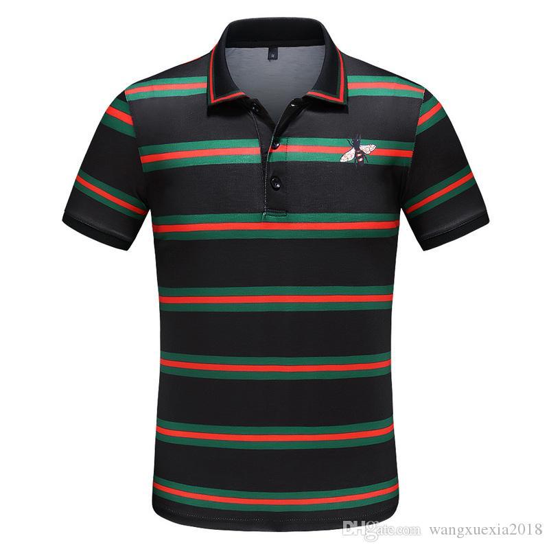 2020 взрыв лацкан с коротким рукавом мужская хлопчатобумажная печать вышитая футболка классическая мода повседневная с коротким рукавом 601