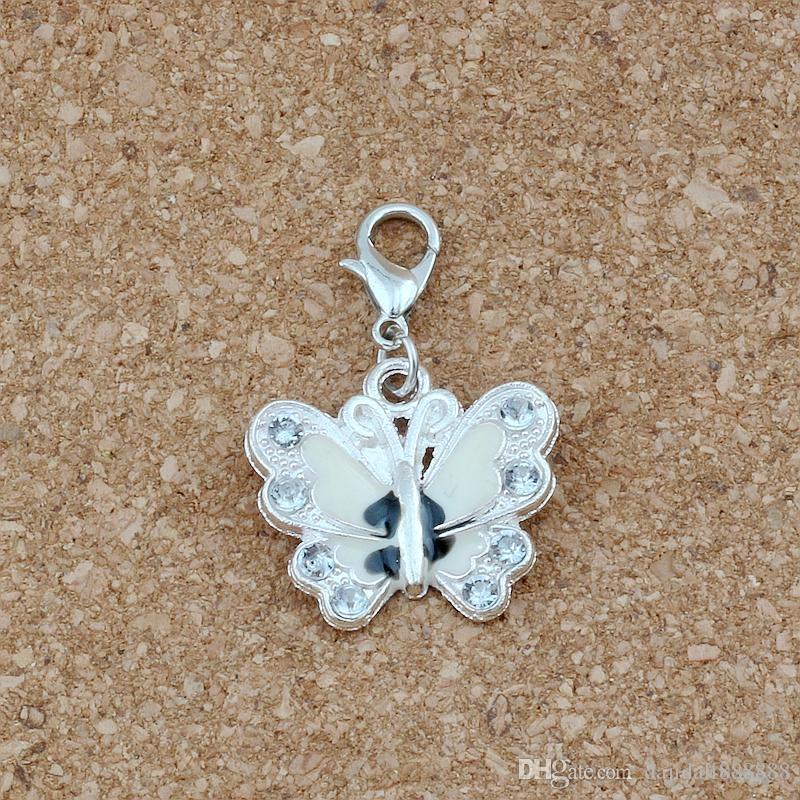 50pcs smalto bianco strass farfalla galleggiante aragosta catenacci perline fascino braccialetto misura gioielli fai da te 22x34mm A-510b