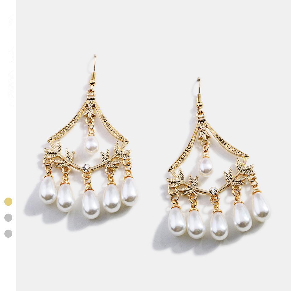 Серьги ювелирных изделий для женщин Корейских серег Pearl Vine кисточка Gold Boucles d Oreille фам 2019