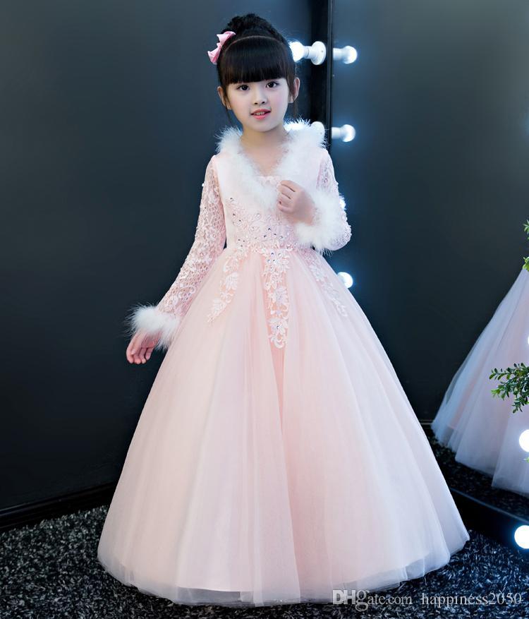 gd0194 Full Length A line Golden Pageant Girl Dresses Size 2-14
