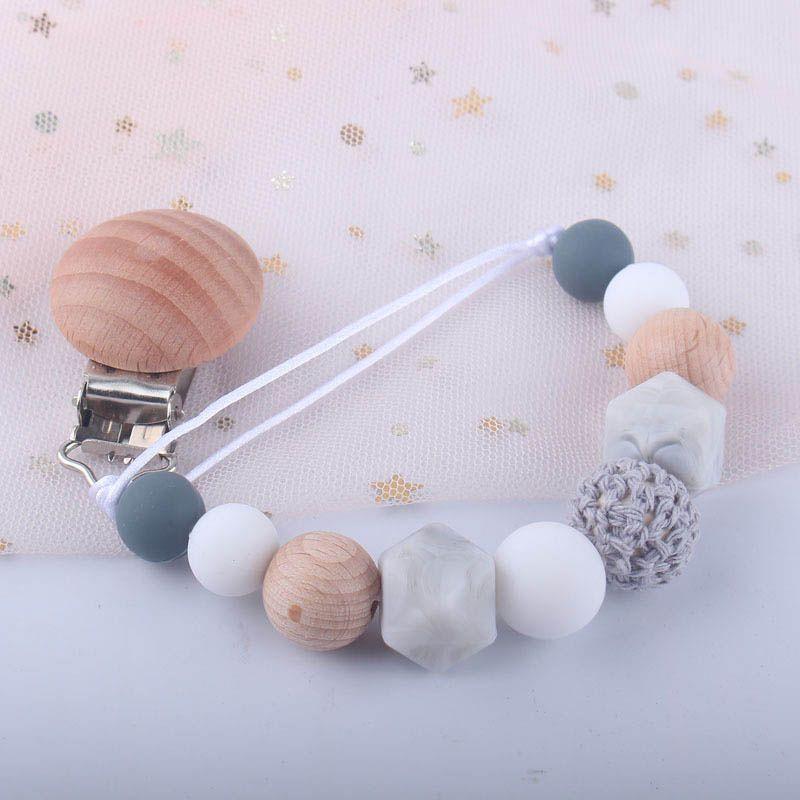 DIY Baby Clip Kettenhalter Holz Perlen Schnuller Schnuller Halter Clip Nippel Beißring Dummy Strapische Kette Gute Qualität A8712
