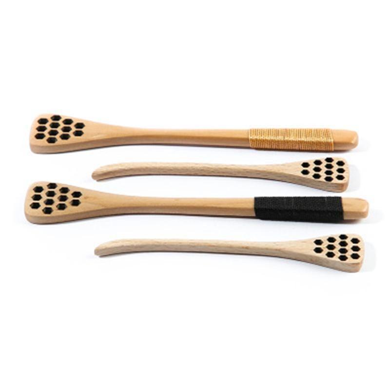 Creux en bois le miel Agitateur miel cuillers bâton Art de la table en bois sculpté Honeycomb Fournitures longue miel Cuisine Dipper