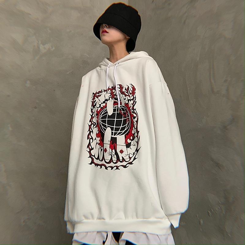 impresión de la marca con capucha mujeres del estilo nueva moda de Harajuku ropa coreana sudadera sobredimensionan bf Hipster unisex con capucha