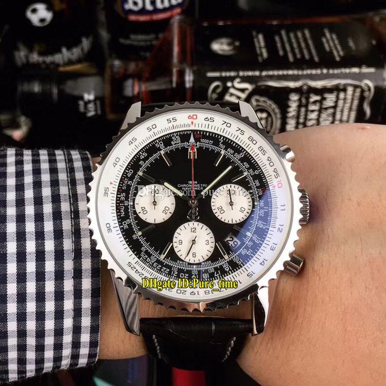 Economici New Navitimer AB012012 quadrante nero orologi Gents cinturino in pelle Cassa in acciaio bianco Subdial Miyota Quarzo Cronografo Mens Watch Cronometro