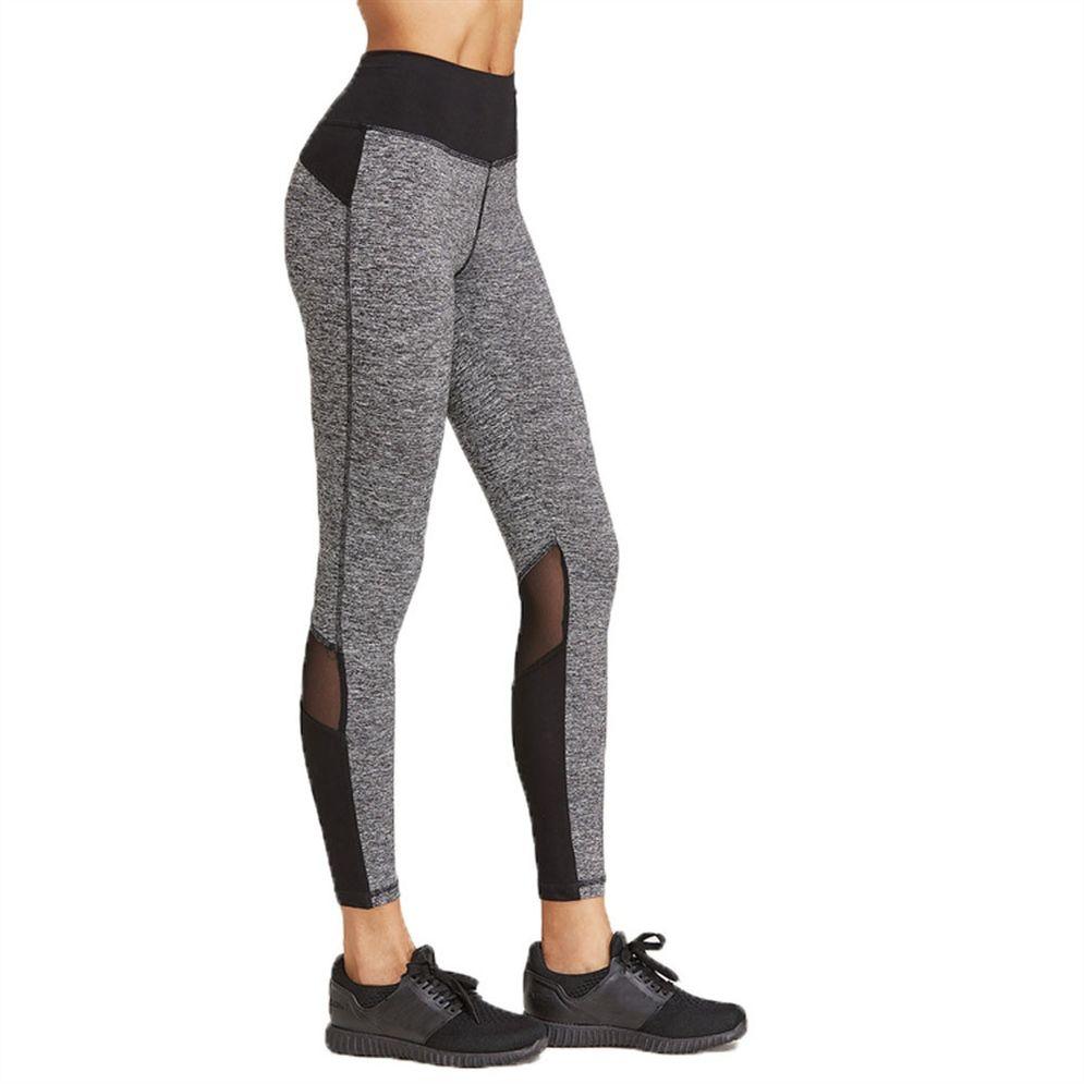 2019 Sexy Mesh Patchwork Sport Leggings Frauen Fitness Kleidung Schwarz Gym Sportswear Laufen Hohe Taille Yogahosen Neue # 1005141