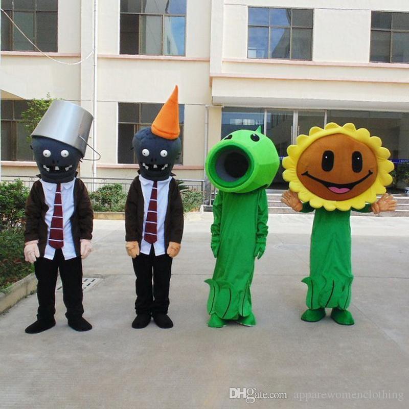 2019 Indirim fabrika satış EVA Malzeme Kask Bitkiler zombi Maskot Kostümleri Crayon Karikatür Giyim Doğum Günü partisi Maskeli