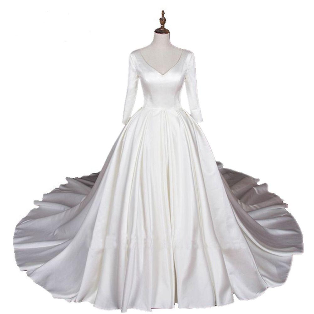Yeni A-line Gelinlik Üç Çeyrek Kollu V Yaka Düğün Balo Saten Artı Boyutu Gelinlik Custom Made