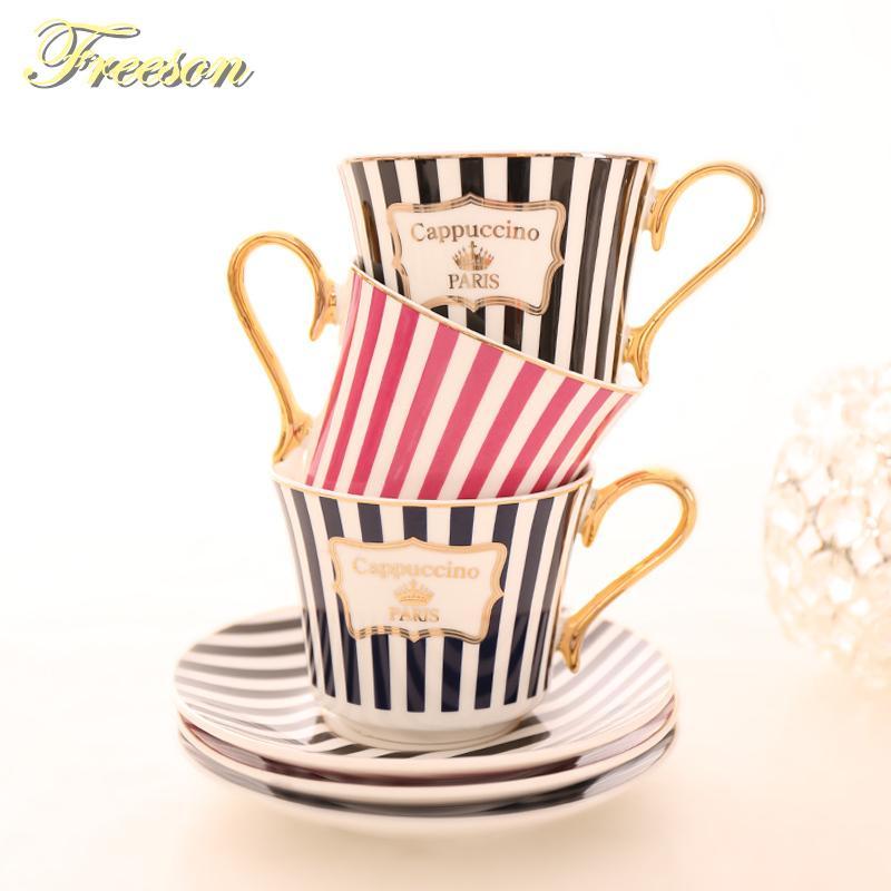 Concise Stripe Bone China Coffee Cup Saucer cucchiaio dell'oro Set di ceramica elegante della tazza di tè 225ml porcellana Teacup Cafe Bicchieri