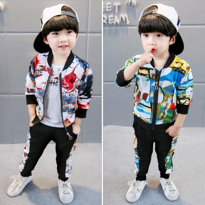 Autunno Neonate Ragazzi Abbigliamento Abbigliamento Set di vestiti infantile Abiti Bambini Bambini Costume Costume Pittura Cappotti T Shirt Pantaloni