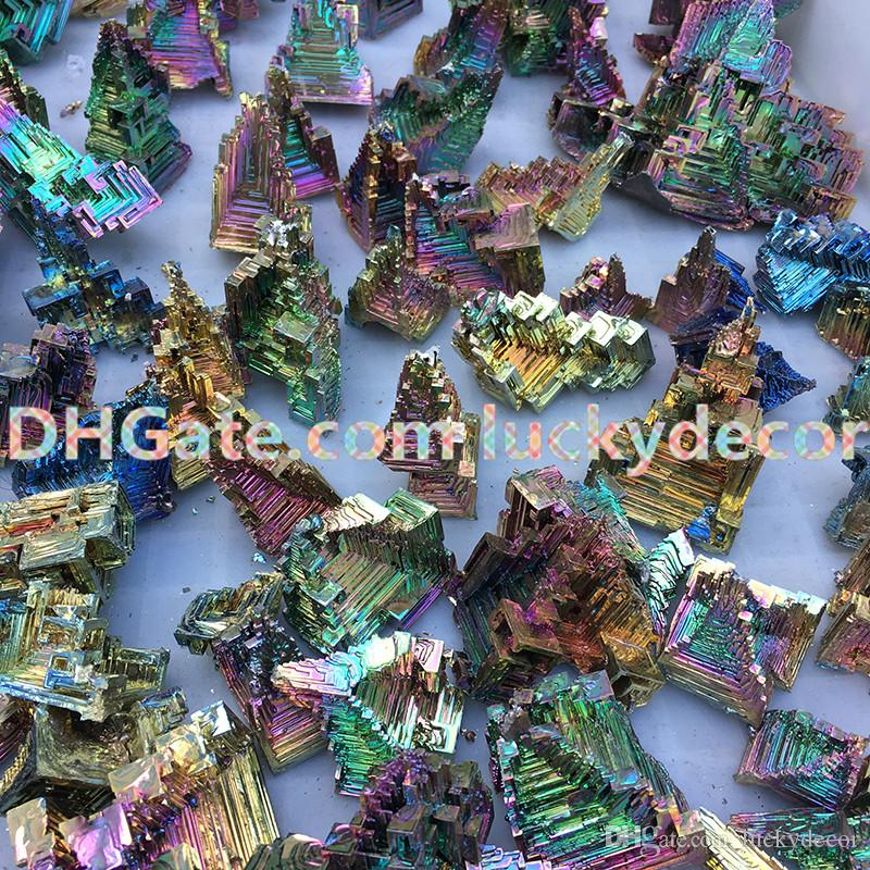10Pcs Exquisite Freeform Rainbow Bismuth Geode Metal Ingot Crystal Ore Display Mineral Specimen Promotes Deep Meditation, Focus & Clarity
