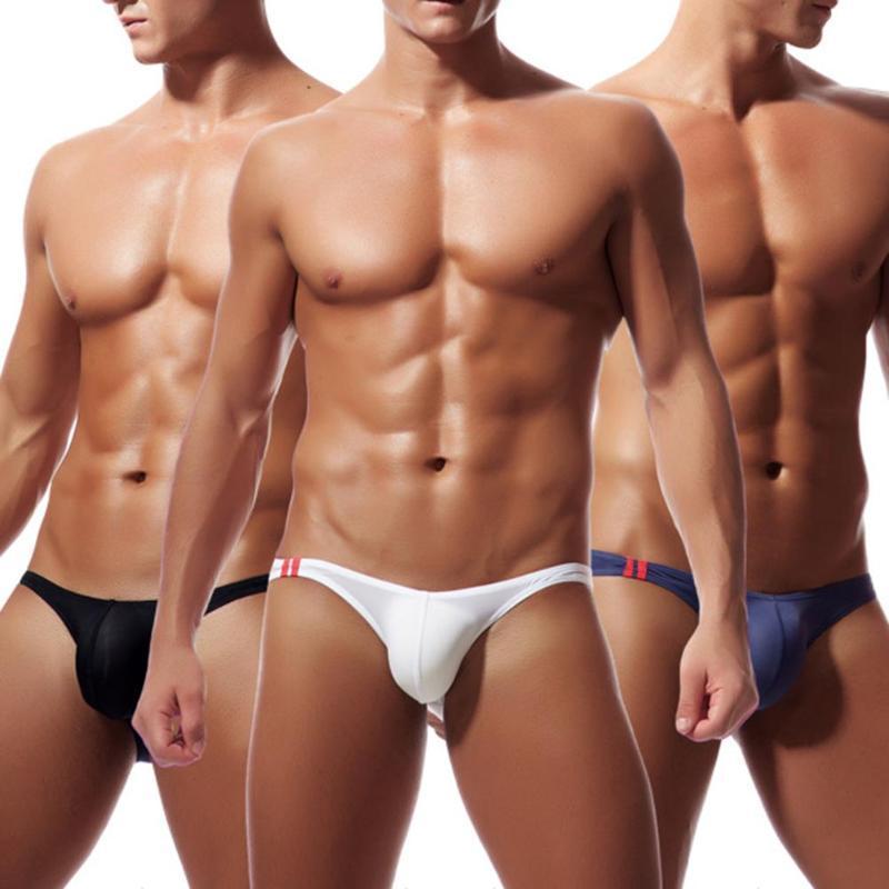 Sexy Men G corda Briefs baixo crescimento sólido U Convex Bulge Pouch Thong Men G-String Mens T-Back Thong Bikini Briefs Gay cueca