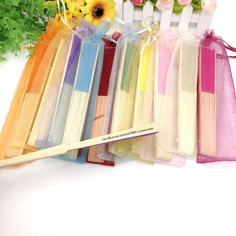 50PCS Mix Color Wedding Fan in Organza Bag with Custom Printing Name&Date Party Decoration Supplies FREE SHIPPING