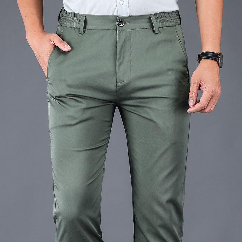 Pantalones para hombres Estilo clásico Primavera y verano Fino Casual Moda Casual Negocio Straight Stilist Cintura Pantalones