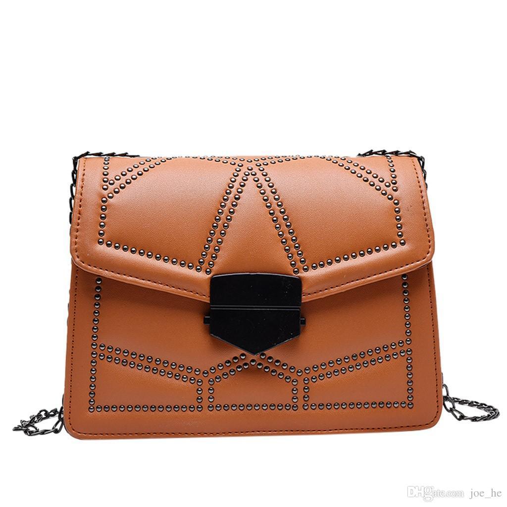 Designer-Small Messenger Kette Crossbody Solide Handtasche Haspe Wild Koreanische Farbe Schulter Frauen Taschen Version Klappe # 3e Bolsa für Mädchen Tasche Cwim