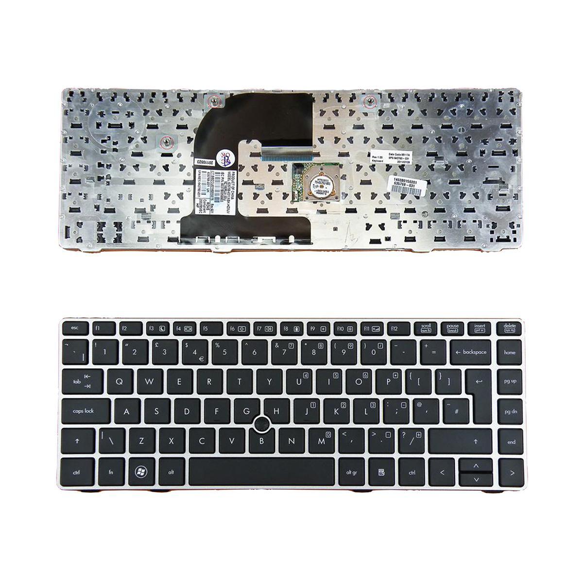 hp EliteBook 8460P Gümüş ÇERÇEVE SİYAH UK Düzeni değiştirmek klavye Onarım Klavye YENİ UK klavye