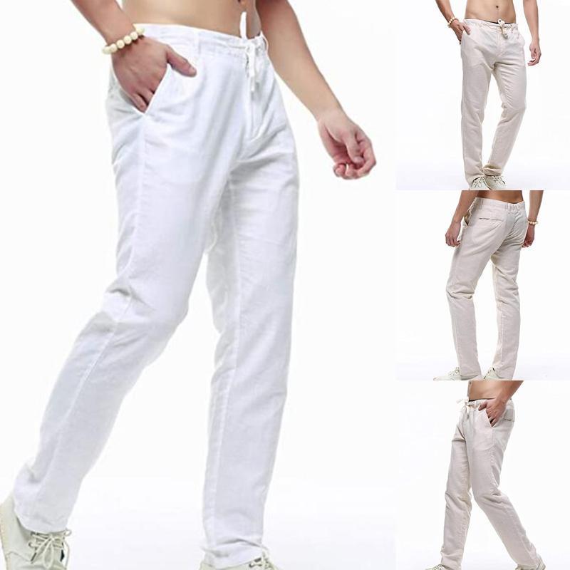 Calças Puimentiua Men cordão de fitness Calças soltas Sólidos Pants Cor Men Moda Casual 2020