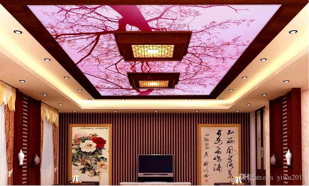 Pittura su misuraHD 3D fantasia rosa soffitto Soffitto Murale Disegni Moderni 3D Soggiorno camera da letto soffitto Wallpaper Papel De Parede