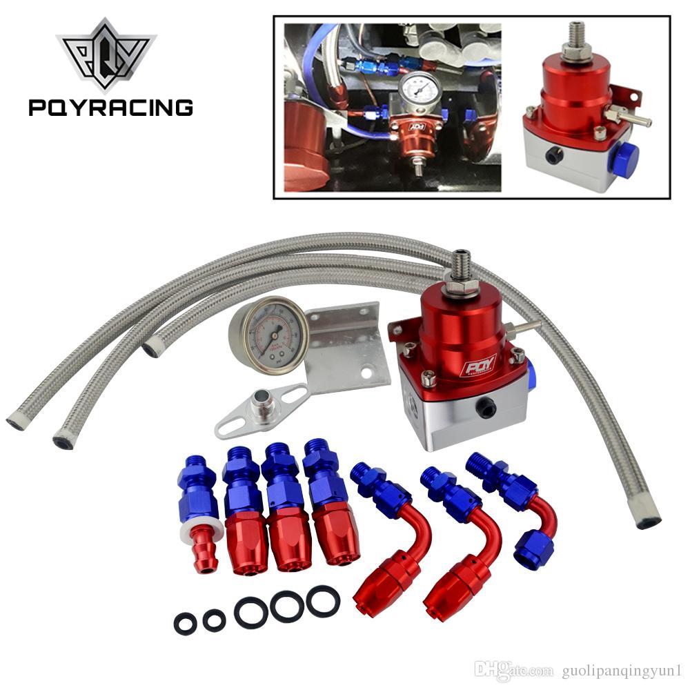 RED Adjustable Fuel Pressure Regulator Gauge Kit Fittings With Oil Line BLACK