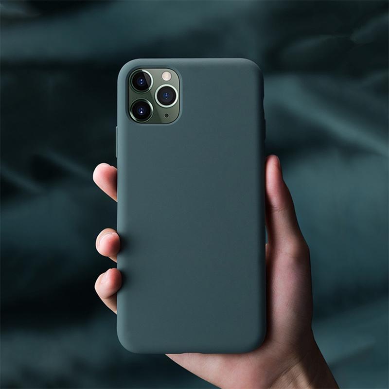 D'origine silicone liquide Phone Case pour iPhone 11 Pro Max 6 7 8 6S Plus X XS XR XS Max Minuit Vert tendre la pleine protection Couverture