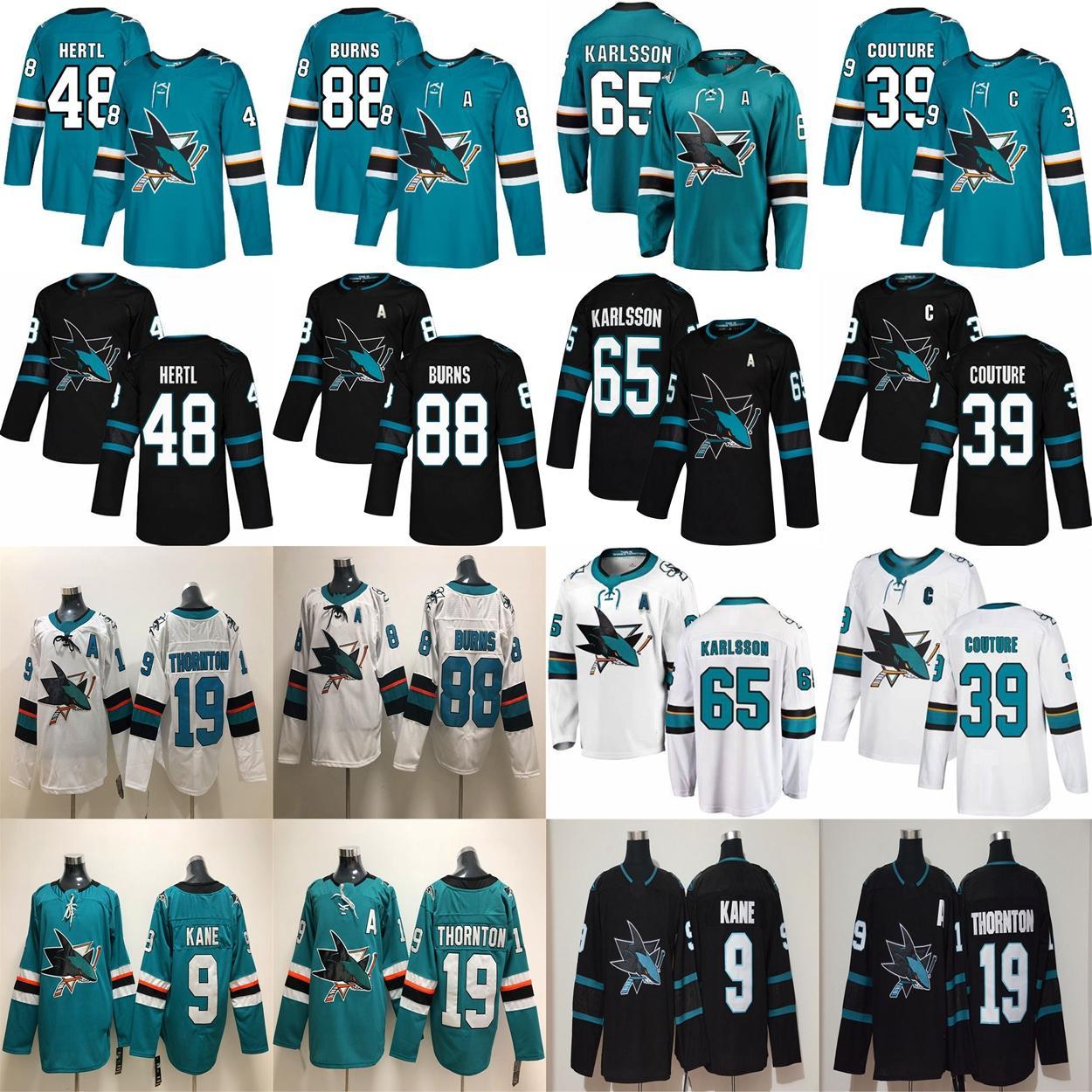 San Jose Sharks Jerseys 9 Evander Kane Jersey 88 Brent Burns 65 Erik Karlsson 39 Logan Couture 19 Jerseys de hockey Joe Thornton cousu
