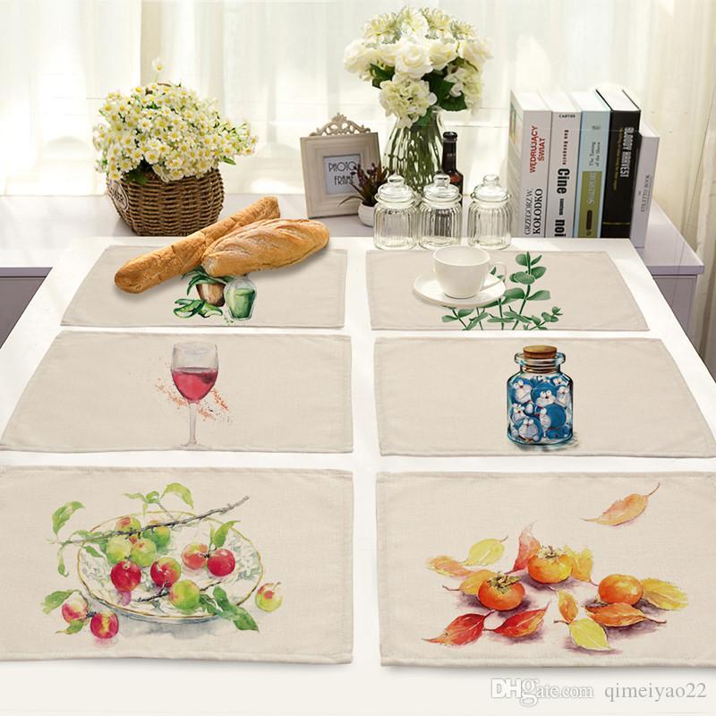 جميل القطن الكتان أدوات المائدة وسادات النفط الطلاء الانطباعية عزل حراري مائدة الطعام ماتس المفارش ورقة السلطانية كوستر