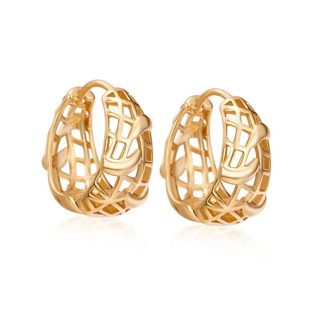 18k cheio de ouro de alta qualidade da moda estilo explosão ocas brincos