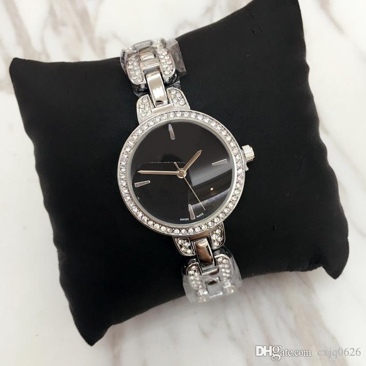 2020 Moda Kuvars İzle Günlük Çelik Stil kaliteli kadın tam Kristal Elmas elbise saat parti Saatler Relojes De Marca Mujer Dial