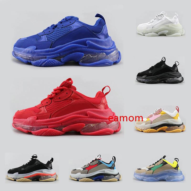 Горячая тройная s clear sole мода роскошные кроссовки дизайнерская обувь для мужчин женщин платформа черный белый желтый красный синий мужской тренер спортивная обувь