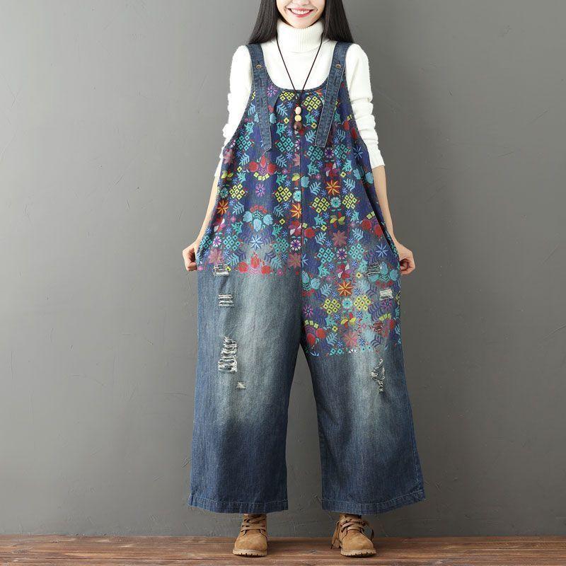 2018 Frauen Vintage Washed Floral bedruckte weites Bein Bib Blue Denim Overalls Jean Overalls weibliche Größe Drop Crotch Strampler Y19060501